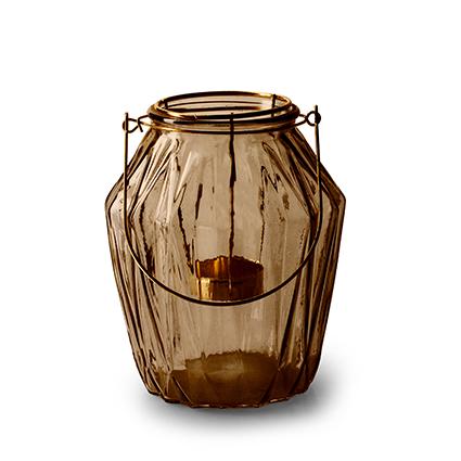 Lantaarn met inzet 'block' M bruin h15 d13,5 cm