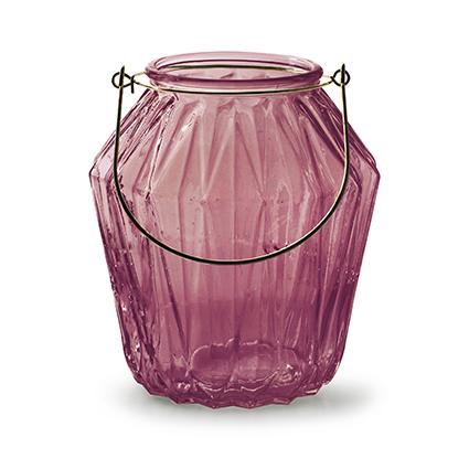 Lantaarn met inzet 'block' M roze h15 d13,5 cm