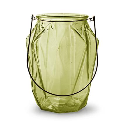 Lantaarn met inzet 'block' L groen h21 d16,5 cm