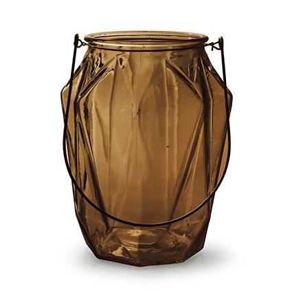 Lantaarn met inzet 'block' L bruin h21 d16,5 cm