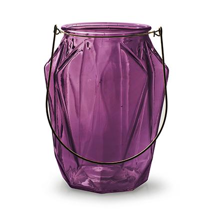Lantaarn met inzet 'block' L paars h21 d16,5 cm