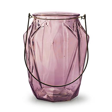 Lantaarn met inzet 'block' L roze h21 d16,5 cm
