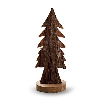 Houten kerstboom 'bark' naturel h24 d10 cm