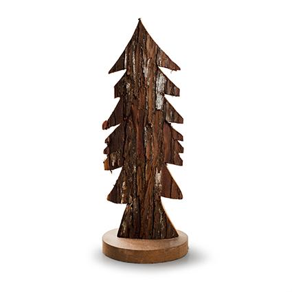 Houten kerstboom 'bark' naturel h29 d12 cm