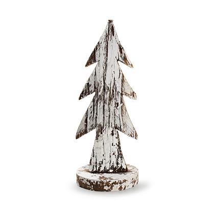 Houten kerstboom 'bark' naturel/sneeuw h24 d10