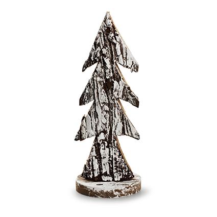 Houten kerstboom 'bark' naturel/sneeuw h29 d12
