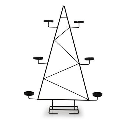 Metalen kerstboom met houder zwart 60x20x42 cm