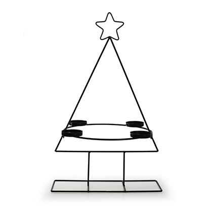 Metalen kerstboom met 4 houders zwart h47 d29,5