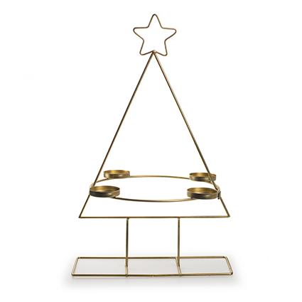 Metalen kerstboom met 4 houders goud h47 d29,5