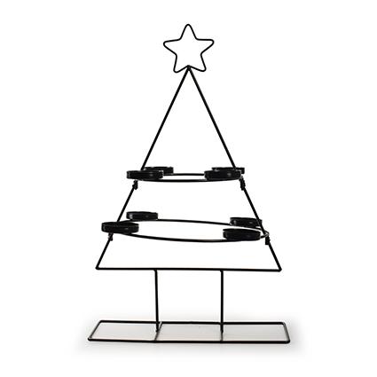 Metalen kerstboom met 8 houders zwart h47 d29,5