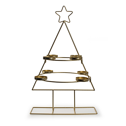 Metalen kerstboom met 8 houders goud h47 d29,5