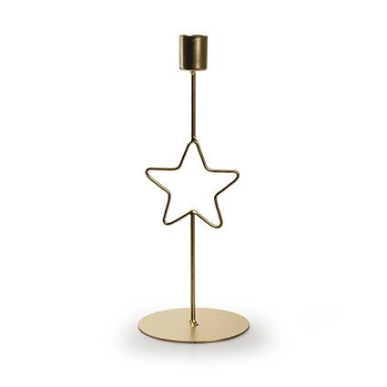 Metalen kaarshouder met ster goud h26,5 d8cm