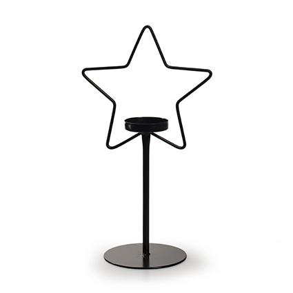 Metalen ster met houder zwart h27 d15 cm