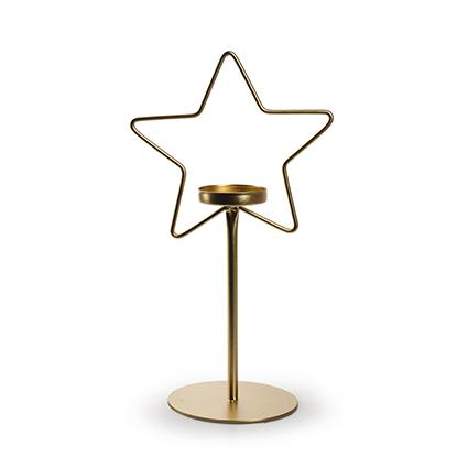 Metalen ster met houder goud h27 d15 cm