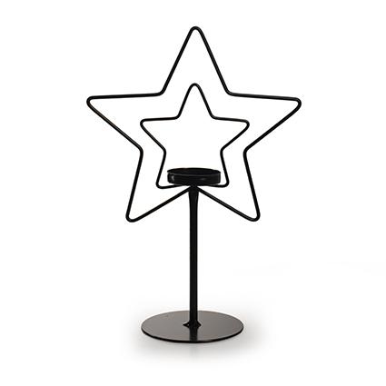 Metalen ster met houder zwart h22,5 d15 cm