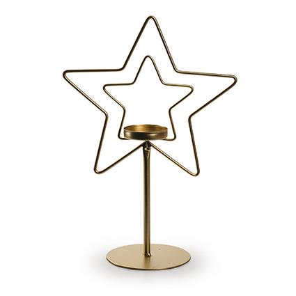 Metalen ster met houder goud h22,5 d15 cm