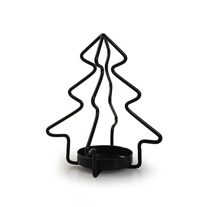 Metalen kerstboom met 1 houder zwart h12,5 d11