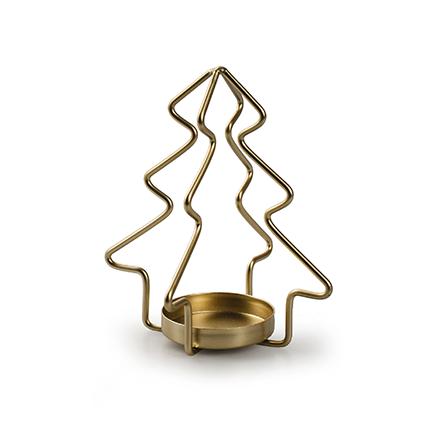 Metalen kerstboom met 1 houder goud h12,5 d11