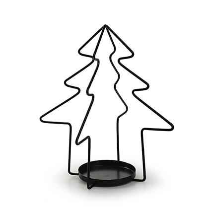 Metalen kerstboom met 1 houder zwart h22 d20 cm