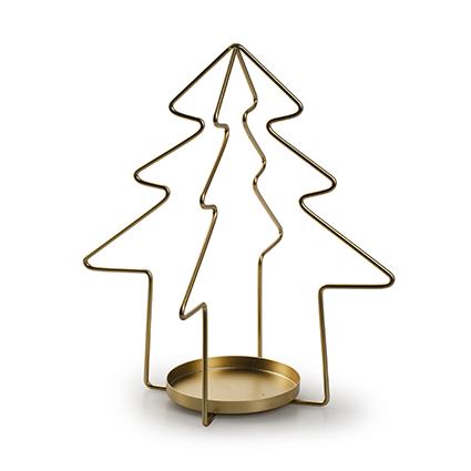 Metalen kerstboom met 1 houder goud h22,35 d20,