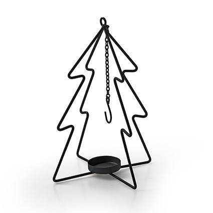 Metalen kerstboom met hanger zwart h26,5 d14,5