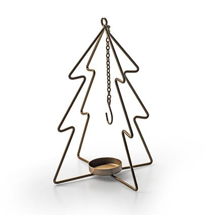 Metalen kerstboom met hanger goud h26,5 d14,5