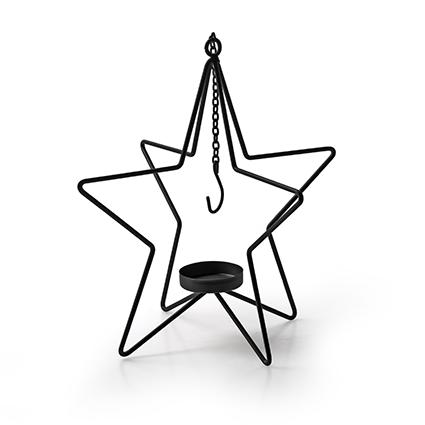 Metalen ster met hanger zwart h26,5 d18,5 cm