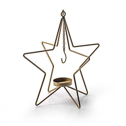 Metalen ster met hanger goud h26,5 d18,5 cm