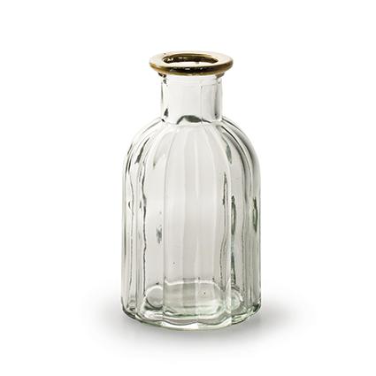 Fles 'norinne' met gouden rand h14 d7,5 cm