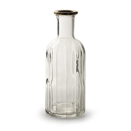 Fles 'norrine' met gouden rand h19 d7,5 cm
