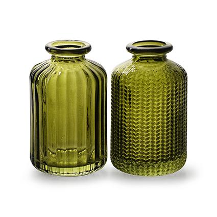 Flesvaasje 'jazz' groen 2-ass. h10 d6 cm