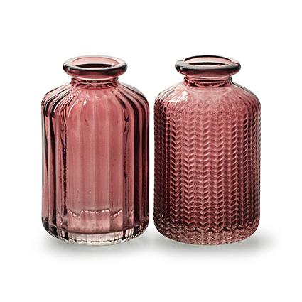 Flesvaasje 'jazz' roze 2-ass. h10 d6 cm