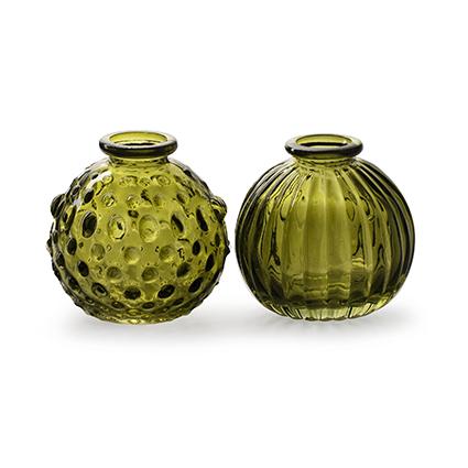 Bolvaasje 'jive' groen 2-ass. h8,5 d8,5 cm