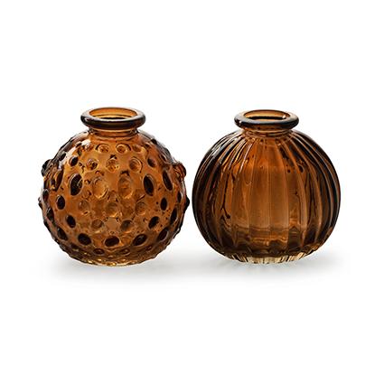 Roundvase 'jive' brown 2-ass. h8,5 d8,5