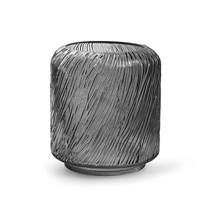 Kaarsenhouder 'zebre' S smoke h18 d15 cm