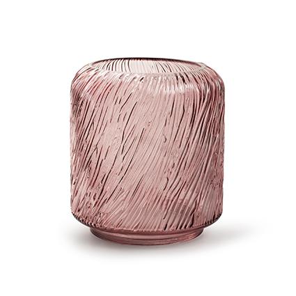 Kaarsenhouder 'zebre' S roze h18 d15 cm