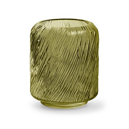 Kaarsenhouder 'zebre' M groen h20 d18 cm