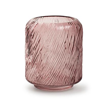 Kaarsenhouder 'zebre' M roze h20 d18 cm