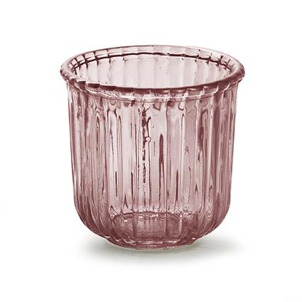 Glaspot 'day' S roze h10,5 d11 cm