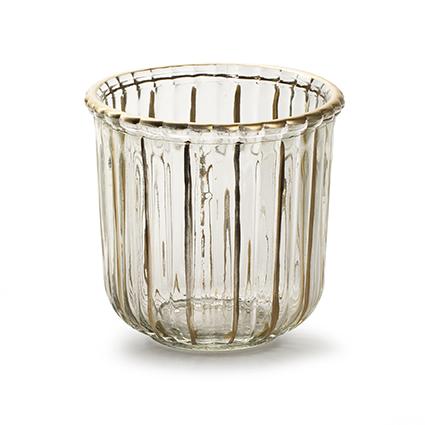 Glaspot 'day' S met gouden streep h10,5 d11 cm
