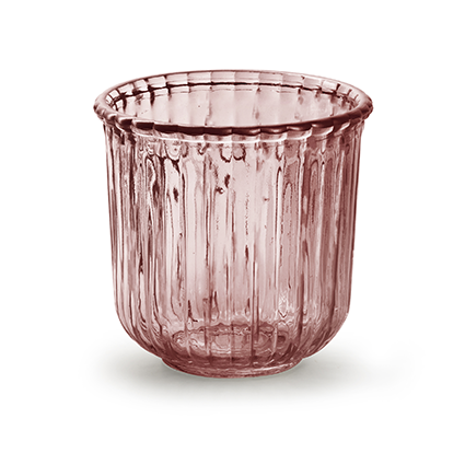 Glaspot 'day' M roze h11,5 d12 cm