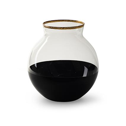 Vaas 'sugar' zwart/goud h17 d17 cm