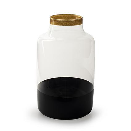 Vaas 'ravelli' zwart/goud h25 d15 cm