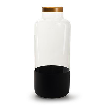 Vaas 'ravelli' zwart/goud h35 d15 cm