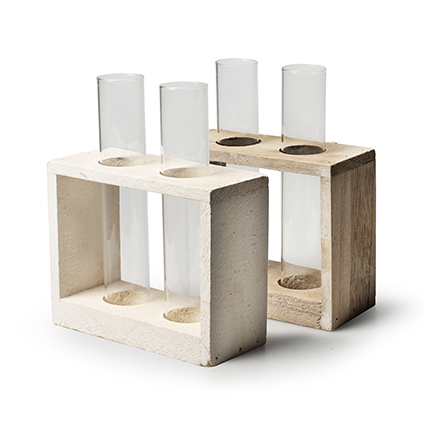Wooden tray grey/wit + 2x tube glass