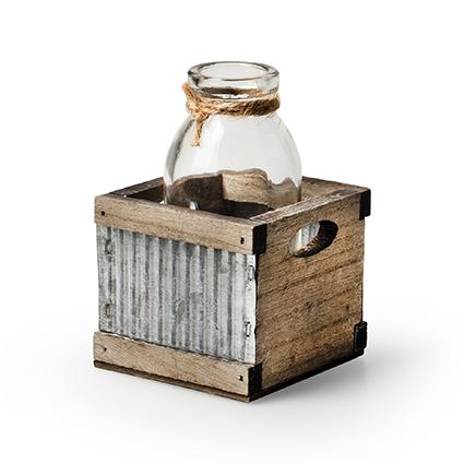 Tray wood/sink + 1x bottle h11 d7x7 cm