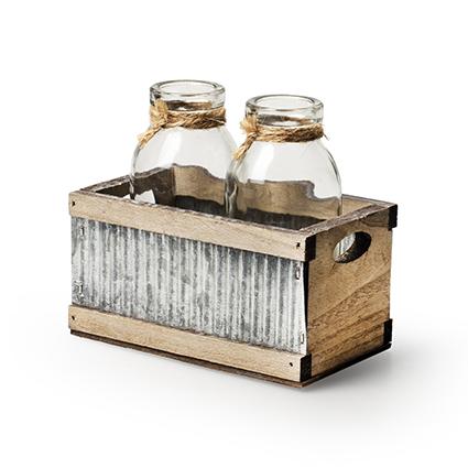 Tray wood/sink + 2x bottle h11 d12x7 cm