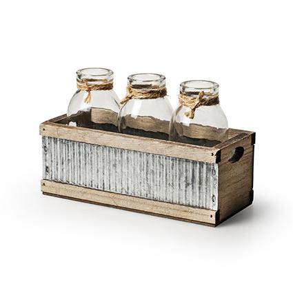 Tray wood/sink + 3x bottle h11 d17x7 cm