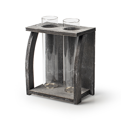 Wooden tray grey + 2x tube glass h14
