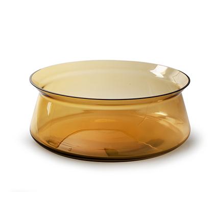Schaal met rand amber h10,5 d27,5 cm cc